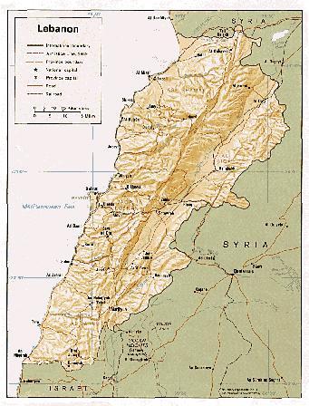Физическая карта Ливана