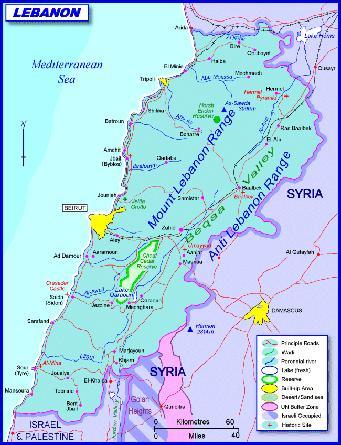 Политическая карта Ливана
